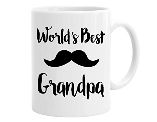 InterestPrint Father's Day Gifts World's Best Grandpa White Coffee Mugs Office Tea Cups with Mustache - 11oz Best Birthday or Christmas Gift Idea for Men, Grandpa, Grandfather -