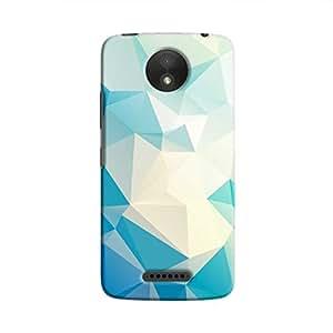 Cover It Up - Light Blue Pixel White Triangles Motorola Moto C Hard Case