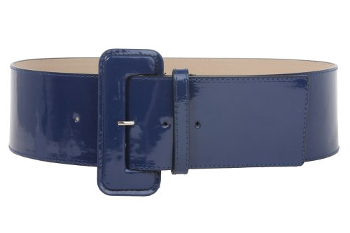 Ladies High Waist Wide Patent Fashion Plain Leather Belt, Navy Blue | M/L - 36