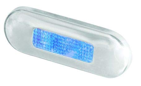 HELLA 959680611 9680 Series Multivolt Blue 10-33V DC LED Step Light with Polished Stainless Steel Rim