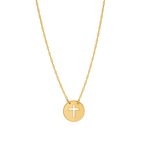 Ritastephens 14k Yellow Gold Mini Contemporary Cut-out Cross Necklace Chain Adjustable 16-18 Inches