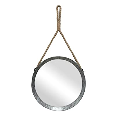 "Stonebriar Rustic Round Galvanized Metal Mirror with Rope Hanging Loop ; Farmhouse Home Decor ; For Bathroom, Bedroom, and Living Room - Decorative Farmhouse Inspired Rope Mirror features a glass mirror with crystal clear reflection & galvanized metal frame accented with rope hanger Stonebriar rope mirror measures 11.9"" in diameter and is the perfect addition for the bathroom, bedroom, living room, and hallway Decorative metal mirror comes with attached real rope hanging loop and is easily installed with a wall hook or screw (Hardware not included) - bathroom-mirrors, bathroom-accessories, bathroom - 3115SnzAKmL. SS400  -"