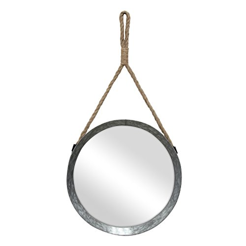 Stonebriar Rustic Round Galvanized Metal Mirror with Rope Hanging Loop ; Farmhouse Home Decor ; For Bathroom, Bedroom, and Living Room