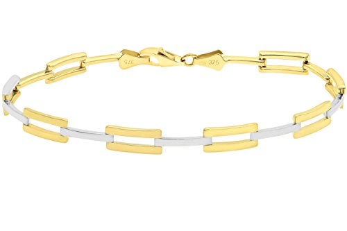Citerna-9-ct-Yellow-and-White-Gold-Bar-Link-Bracelet-of-Length-19-cm