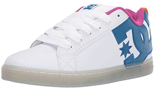 #DC Court Graffik SE White Cyan Leather Mens Skate Trainers Shoes