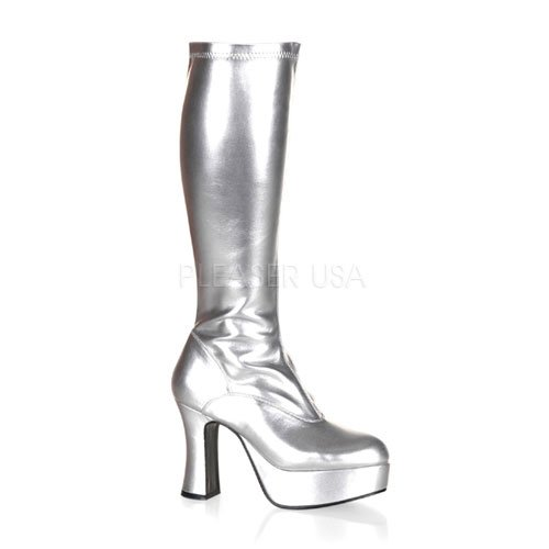 Funtasma by Pleaser Women's Exotica-2000 Boot,Silver Stretch Patent,9 M Silver Platform Boots
