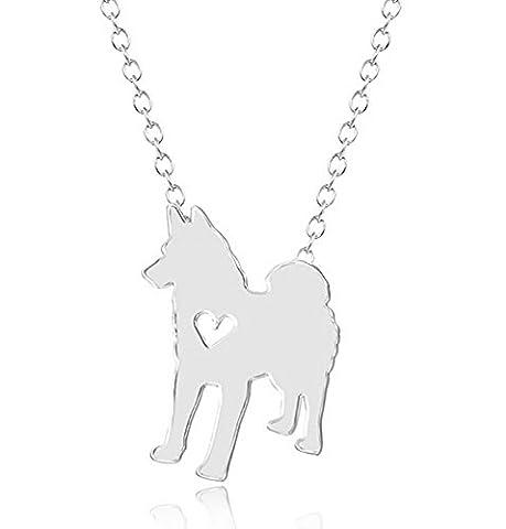 ZQ 2016 Fashion Lovely Animal Samoyed Dog Pendant Necklace Chain With Heart For Unisex All Style - Samoyed Jewelry