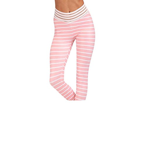 Damen Yogahose,Beikoard Frauen Print Workout Leggings Fitness Sport Gym Running Yoga Sporthose Streifen Sporthosen Kompression Sport Trainingshose Rosa