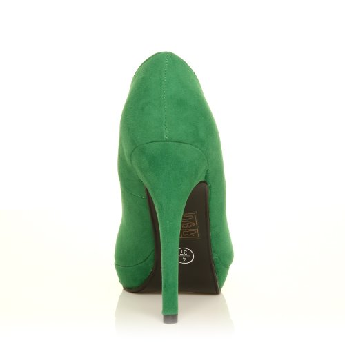 A Scarpe Plateaux Alti Verde Stiletto Finto Tacco Decolletè Camoscio Verde E Eve Con Eqw6O
