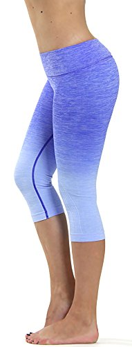 Royal Blue Womens Capris (Prolific Health Fitness Power Flex Yoga Pants Leggings - All Colors - XS - XL (Small, Capri Ombre ROYAL BLUE))