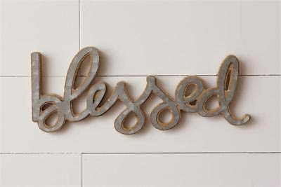 (KLNY16 New Rustic Farmhouse Blessed Word Galvanized Metal Wood Wall Hanging Sign)