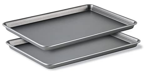 Jelly Roll Pans Set of 3 Baking Bakeware Cookie Sheet Nonstick Steel Kitchen