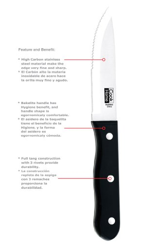 Cook N Home 8-Piece Steak House Style Steak Knife Set, Stainless Steel by Cook N Home (Image #1)'
