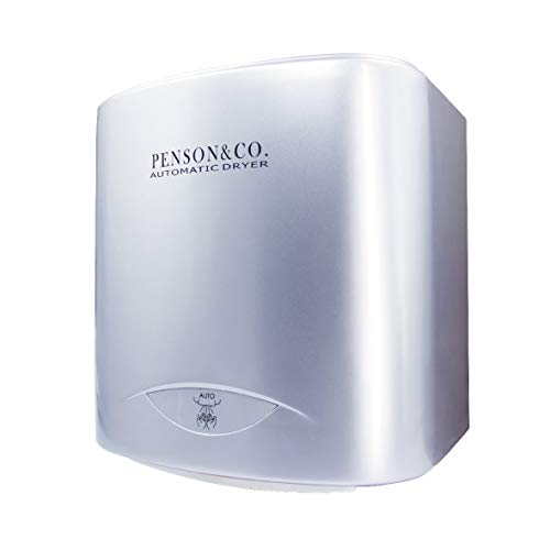 PowerPress AHD-2001-00 PENSON & CO. Super Quiet Automatic Electric Hand Dryer Commercial High Speed 95m/s, Silver, Instant Heat & Dry, Brushed (Best Electric Dryer For The Money)