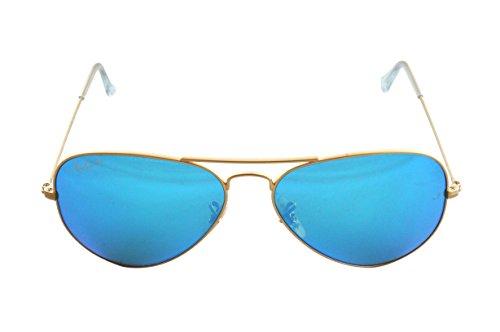 Hombre Ray sol Dorado Blue Ban Gafas de Aviator para Metal Flash Large xBx78qf