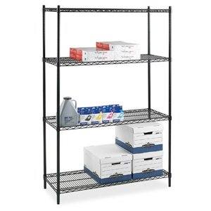 (Lorell Starter Shelving Unit, 4 Shelves/4 Posts, 36 by 24 by 72-Inch, Black)