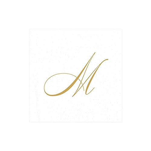 Caspari White Pearl & Gold Paper Linen Boxed Cocktail Napkins in Letter M - Pack of 30
