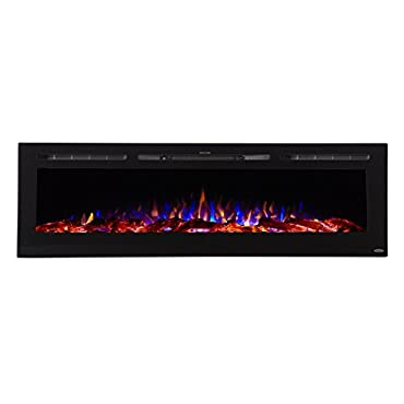 Touchstone 80015 Sideline Electric Fireplace 72 Inch Wide in Wall Recessed 5 Flame Settings Realistic 3 Color Flame 1500/750 Watt Heater (Black) Log & Crystal Hearth Options