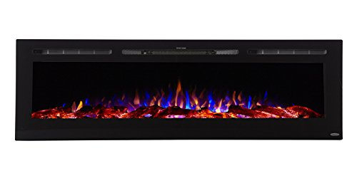 Touchstone 80015 - Sideline Electric Fireplace - 72 Inch Wide - in Wall Recessed - 5 Flame Settings - Realistic 3 Color Flame - 1500/750 Watt Heater - (Black) - Log & Crystal Hearth Options (Prices Fireplace Hearth)