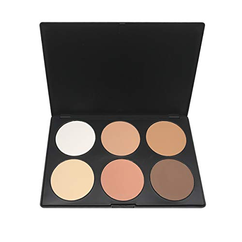 Beshine Loose Powder Oil-control Makeup Setting Powder Professional Brightening and Smooth Skin Highlighting Face Loose Finishing Powder Translucent, 6-Color Corrective Powder Contour Palette(06II)