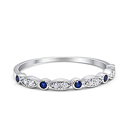 2mm Half Eternity Wedding Band Art Deco Design Round Simulated Blue Sapphire CZ 925 Sterling Silver, Size-11