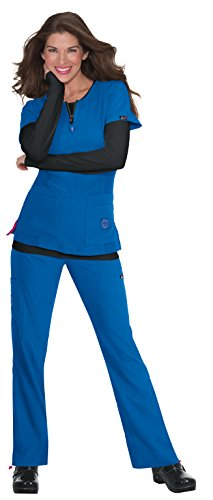 koi Lite Women's Serenity Round Zip Neck Solid Scrub Top X-Small - Athletic Scrub