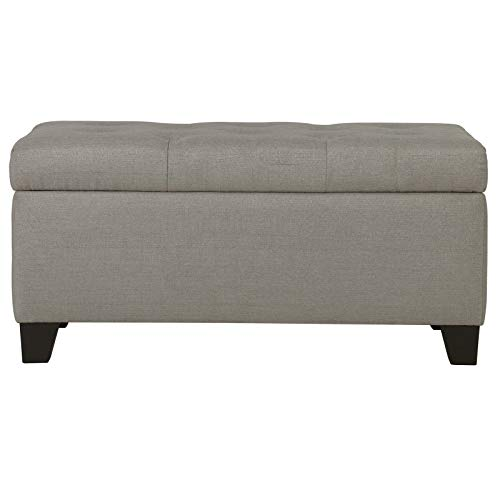 (Mischa Modern Tufted Fabric Upholstered Storage Ottoman in Light Grey)