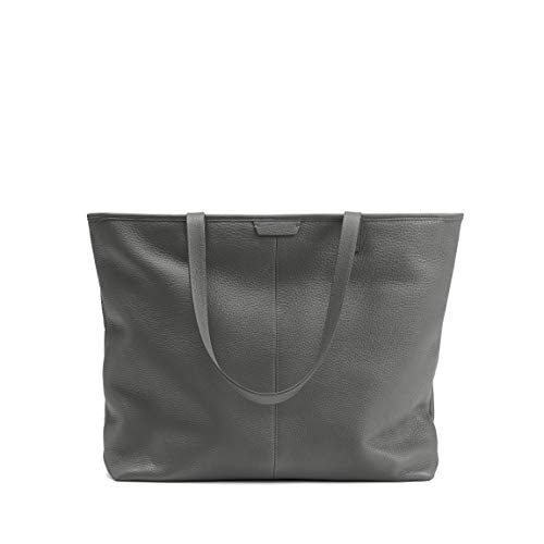 Large Zippered Downtown Tote - Full Grain Leather Leather - Charcoal ()