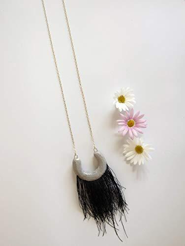 Black Fringe Necklace, Concrete jewelry, Tribal Fashion jewelry, Bohemian Tassel necklace, Gold filled Long Necklace Statement Boho - Hills Gold Necklace Mom Black