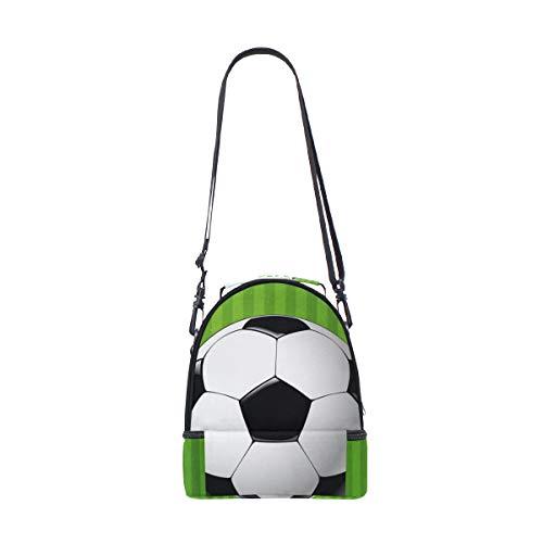 Alinlo Soccer Ball Boîte à lunch Sac isotherme Cooler Tote avec bandoulière réglable pour Pincnic à l'école