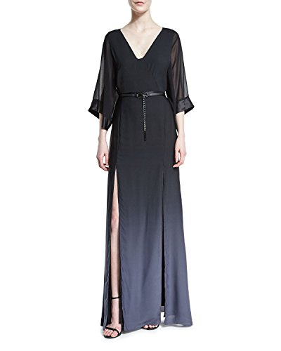 Halston Heritage Half-Sleeve Belted Ombre Gown (2, Black/Asphalt) Ombre Silk Chiffon Dress