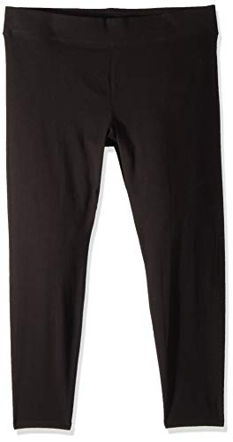 HUE Women's Plus Size Cotton Ultra Legging with Wide Waistband, Assorted, Black, 1X