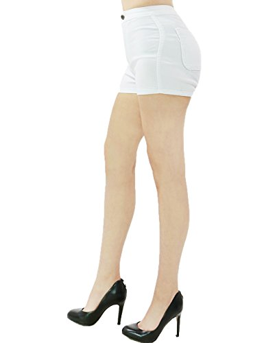 Womens Active Sexy Stretchy Fitted Mini Sorts Button Zipper Closure (S.M.L.XL) (SMALL, WHITE)