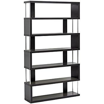 6 shelf bookcase with doors white premier corner studio modern dark brown