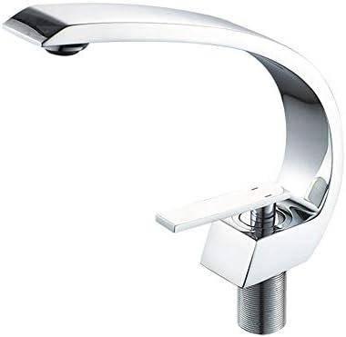 ホットとコールド滝の蛇口現代つや消しニッケル曲線の真鍮の浴室のシンクの蛇口シングルハンドル洗面所洗面混合栓商業スタイルのデッキマウント単穴