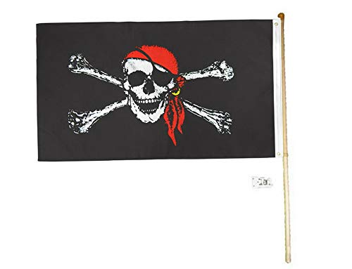 Kaputar 5 Wood Flag Pole Kit Wall Mount Bracket with 3x5 Pirate Red Hat Polyester Flag | Model FLG - 6068