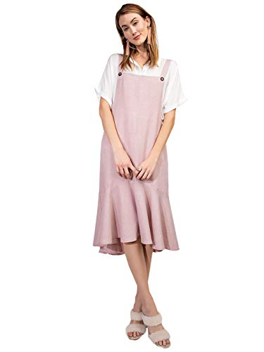 Anna-Kaci Women's Button Strap Overall Jumper Pinafore Peplum Hem Midi Dress,Blush Pink,Large (Jumper Button Strap)