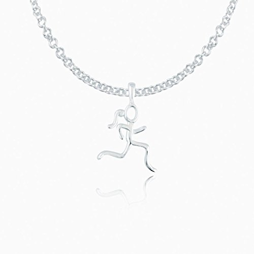 Sterling Silver Mini Stick Figure Runner Necklace | .925 Sterling Silver Necklaces | Running Jewelry | 18