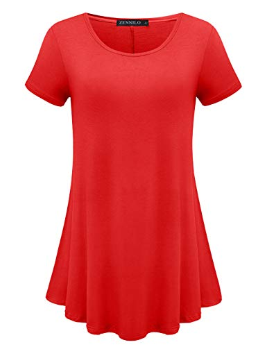 - ZENNILO Womens Short Sleeve Loose Fit Swing Tunic Tops Basic T Shirt (Red, XL)