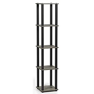 Furinno 18026GYW/BK Turn-S 5-Tier Compact Multipurpose Shelf with Square Tubes French Oak Grey/Black