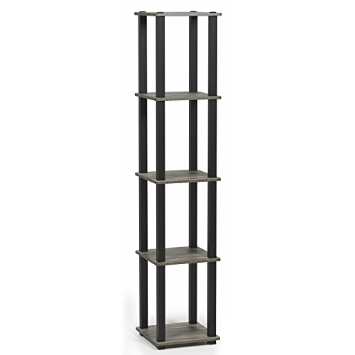 - Furinno 18026GYW/BK Turn-S 5-Tier Compact Multipurpose Shelf with Square Tubes, French Oak Grey/Black