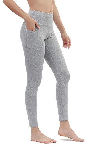 DILANNI High Waist Yoga Pants with Pockets Tummy Control Workout Running Gym Non See-Through 4 Way Stretch Leggings Small Light Grey (Teens Leggings)