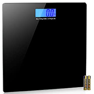 INNO STAGE Digital Body Weight Bathroom Scale With User Manual, 400 Lb, Sturdy Tempered Glass, Elegant Black