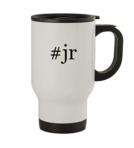 #jr - 14oz Sturdy Hashtag Stainless Steel Travel Mug, White Dale Earnhardt Jr Travel Mug
