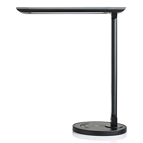 TaoTronics TT-DL13B LED Desk Lamp Eye-caring Table Lamps, Dimmable Office Lamp with USB Charging Port, Touch Control, 12W, 5 Color Modes, Philips EnabLED Licensing Program (Black) (Bedroom Lamps Reading)