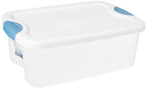 Sterilite 18828012 6 Quart/5.7 Liter Latch Box, White Lid with Clear Base and Blue Aquarium Latches, 12-Pack