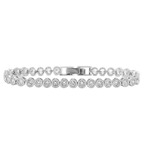 36 PCS Round Cut Zirconia Crystal Tennis CZ Bracelets for Women Or Wedding in 3 Assorted Colors White Gold Color ()