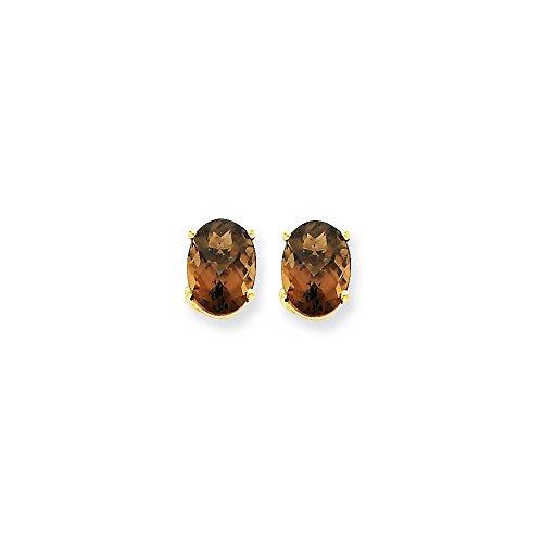 14k Gold Smokey Quartz (14k Yellow Gold 8x6 Oval Smoky Quartz Earrings 8x6 mm)