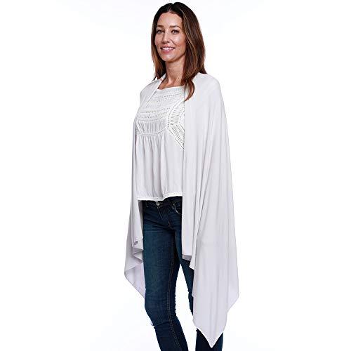 Neck Shawl (HappyLuxe Wayfarer Travel Wrap and Shawl, Cozy Travel Blanket, Built in Neck Warmer, (Cool Grey))