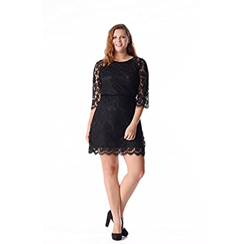 Esprlia Womens Lace 3/4 Sleeves Midi Business Cocktail Short Formal Lace Dress (3X, Black)